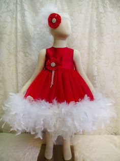 18  24 mo Red Shantung & Tulle Feather Dress with by cd1ofakind