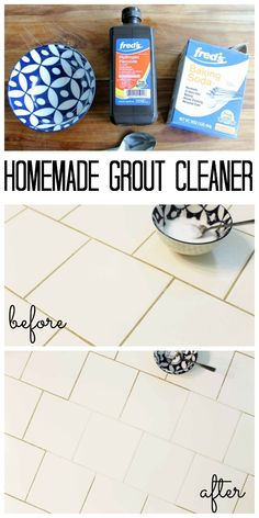 Homemade Grout Cleaner from Household Supplies - Cleaning Hacks Deep Cleaning Tips, House Cleaning Tips, Diy Cleaning Products, Spring Cleaning, Cleaning Diy, Cleaning Supplies, Cleaning Recipes, Homemade Grout Cleaner, Cleaners Homemade
