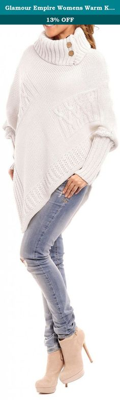 Glamour Empire Womens Warm Knit Poncho Sweater Batwing Cape Top Jumper 312 (Off White, ONE SIZE US 4/6/8, ). Sweeten up your look in this Glamour Empire poncho sweater. Featuring rolled / funnel neckline styling ensuring a flattering shape, this cape has been designed with long dolman sleeves. Made from warm soft knit that is comfortable and figure flaunting.