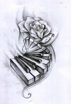 Watercolor pencils on paper tattoo design for a friend - new ideas - ta . - Watercolor pencils on paper tattoo design for a friend – new ideas – tattoo - Music Drawings, Pencil Art Drawings, Art Drawings Sketches, Tattoo Drawings, Rose Drawing Pencil, Quote Drawings, Tattoo Sketches, Music Tattoo Designs, Music Tattoos