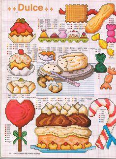 Point de croix cross stitch desserts candy cane