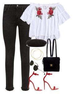 """Sem título #1523"" by oh-its-anna ❤ liked on Polyvore featuring Frame, Chanel, Gianvito Rossi and Yves Saint Laurent"
