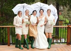 bridesmaids all cozied up