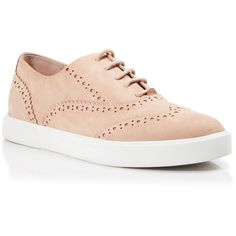 kate spade new york Lace Up Sneakers - Catlyn Wingtip ($80) ❤ liked on Polyvore featuring shoes, sneakers, shell, kate spade sneakers, nubuck leather shoes, laced shoes, lace up shoes and wing tip shoes