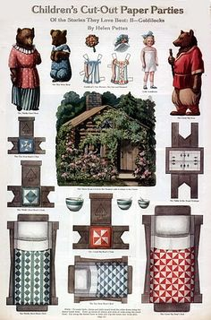 Goldilocks and the three bears and 10 more choices of paper dolls to print out