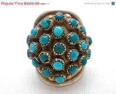 30% Off Turquoise Ring Zuni Snake Eyes by TheJewelryLadysStore