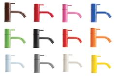 these colorful faucets are AWESOME. Vola by Arne Jacobsen