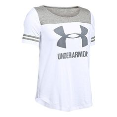 Under Armour Women's UA Sportstyle Baseball Tee White/True Gray Heather/Steel T-Shirt LG (US ** More details can be found by clicking on the image. Gina G, Women's Tops, Athletic Wear, Under Armour Women, Boy Fashion, Sport Outfits, Image Link, Amazon, My Style