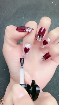 sensational winter nail colors to make you feel warm 21 Nail Art Designs Videos, Valentine's Day Nail Designs, Simple Nail Art Designs, Easy Nail Art, Acrylic Nail Designs, Valentine Nail Art, Valentine Nail Designs, Cute Christmas Nails, Winter Nails