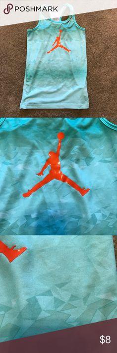 Air Jordan Nike basketball shirt This kids 10-12 yrs size medium air Jordan shirt is a stunning green with a razor back! Any girl that plays basketball would love it! Nike Shirts & Tops Tank Tops