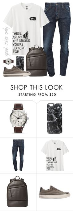 """""""Untitled #1377"""" by alexandra-provenzano ❤ liked on Polyvore featuring FOSSIL, Casetify, Dsquared2, Uniqlo, Want Les Essentiels de la Vie, John Varvatos, men's fashion and menswear"""