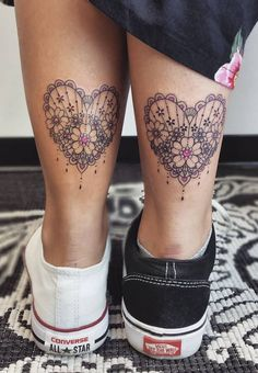A tattoo style for the ladies, lace tattoos are the perfect choice for girls and women who want to express their femininity. Mom Daughter Tattoos, Tattoos For Daughters, Lace Tattoo, Tattoo You, Custom Temporary Tattoos, Heart Tattoo Designs, Lace Heart, Arm Tattoos, Body Mods