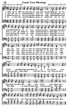 "Traditional Christian Hymns - the history of ""Count Your Blessings""."