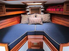 1988 Shannon 28 Sail Boat. V-berth forward with a wedge insert to make up a full bunk. McC