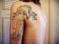 Alphonse Mucha Tattoo. Mucha tattoos typically don't come out that well, so if I ever do go through with getting one of his pieces done, I'd keep it simplistic...like just the outline or choose a study as the piece.