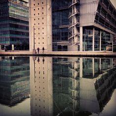 Canal de l'Ourq, Paris, Pantin, Bridge, river, water, France, reflection, office building, green - @franckparisot- #webstagram