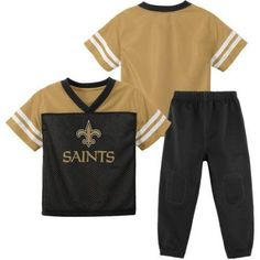 NFL New Orleans Saints Toddler Short Sleeve Top and Pant Set, Toddler Girl's, Size: 4 Years, Black