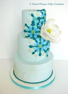 Another stunning cake by Sweet Picasso Cake Creations.  ~ Turquoise Mosaic Cake By rava on CakeCentral.com