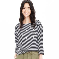 Banana Republic stripe beaded top Striped jersey top with beaded trim. Boat neck, 3/4 sleeve. Easy fit, hits at the hip. 100% cotton. New with tags and never worn. Banana Republic Tops