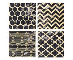 Set di 4 stampe artistiche in tela oro e nero Bobby, 30x30x10 cm