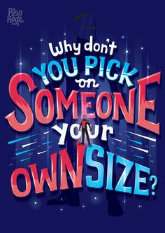 """Why Don't You Pick on Someone Your Own Size? Lettering series by Risa Rodil. Marvel Vs Dc Comics, Marvel Fan, Marvel Heroes, Marvel Avengers, Marvel Gems, Avengers Quotes, Marvel Quotes, Avengers Imagines, Ant Man Marvel"