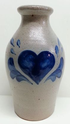 Rowe Pottery Works Blue Heart Salt Glaze Vase by Snowyowltreasures