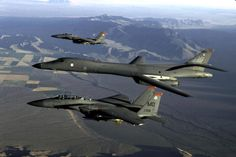 B 1 and F 15s patrolling the Skies