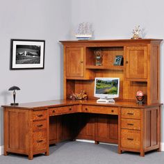 Solid Wood Amish Made Coventry Executive Corner Computer Desk & Optional Hutch