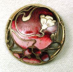 Antique French Enamel Button Art Nouveau Floral Design