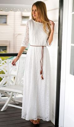LBS Amazon // Look immaculately gorgeous in this white lace maxi dress.