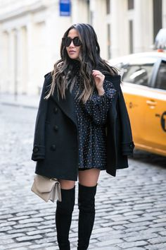 Winter Dress :: Flirty polka dots & Favorite peacoat :: Outfit ::  Top :: Burberry peacoat | Caroline Constas top Bottom :: Line & Dot Shoes :: Stuart Weitzman Bag :: M2Malletier Accessories :: Karen Walker sunglasses Published: February 22, 2017