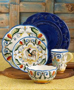 Fitz and Floyd Dinnerware, Ricamo 16 Piece Set - Casual Dinnerware - Dining & Entertaining - Macy's