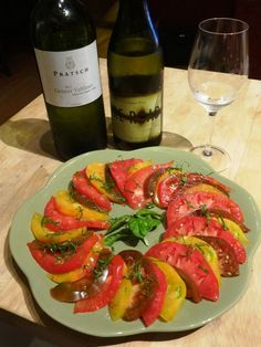 Heirloom Tomatoes paired with the 2013 Biohof Pratsch Gruner Veltliner Organic 1 Liter and Fire Road Sauvignon Blanc 2013 (90pt WE score)
