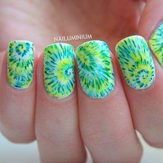 Tie Dye Nails #Summer #nails #nailart