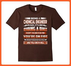 Mens being a CHEMICAL ENGINEER like riding a bike on fire hell XL Brown - Careers professions shirts (*Partner-Link)