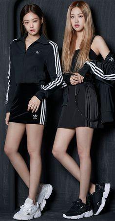 Jennie Kim — Jennie & Rosé for Adidas Kim Jennie, Jenny Kim, Blackpink Outfits, Fashion Outfits, Blackpink Fashion, Korean Fashion, Girl Celebrities, Celebs, Kpop Mode