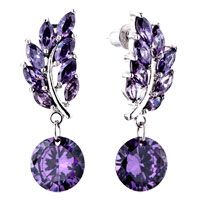 Pugster Amethyst Color February Birthstone Dangle Earring