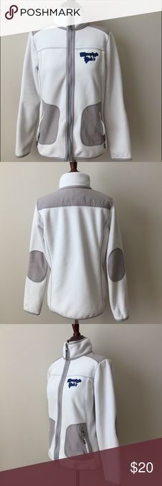 LIKE NEW White & Gray Fleece Zip Up Jacket LIKE NEW! Washed but never worn.  White & gray zip up fleece jacket.  Has pockets that also zip close! Cute gray elbow patches.  Is embroidered with 'Murphy's Pub'. Greentea Jackets & Coats