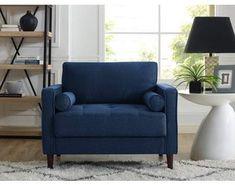 Lifetstyle Solutions Lifestyle Solutions Mid-Century Modern Design Lorelei Large Armchair in Navy Blue Fabric. #bluedecor #homedecorideas #afflnk #funkthishouse