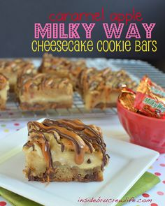 Caramel Apple Milky Way Cheesecake Cookie Bars - candy bar cookie dough with a caramel cheesecake in the center.  #cheesecake #caramelapple www.insidebrucrew...