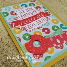 Punch Art Donut inspired by Cherry on Top DSP using Stampin' Up! products from the new 2015-2016 Annual catalogue. Created by Carolina Evans #stampinup