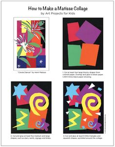 Make a Matisse style collage with my PDF tutorial. Henri Matisse Art Lesson - Cut Paper Collage - Art Projects for Kids - Henri Matisse, Matisse Kunst, Matisse Art, Collage Kunst, Collage Art, Kids Collage, Kindergarten Art, Preschool Art, 2nd Grade Art