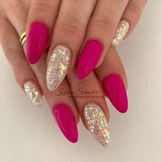 Nageldesign - Nail Art - Nagellack - Nail Polish - Nailart - Nails nails Wedding Flowers - Warm Or P Fancy Nails, Cute Nails, Pretty Nails, Hot Pink Nails, Shellac Nails, Glitter Nails, Gel Nail, Manicures, Fabulous Nails