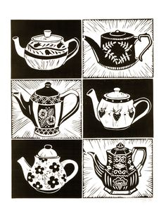 Teapots Lino Print by Lauren Kelly