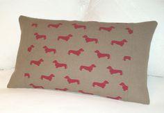Dachshund / Weiner Dog  Cushion / Lumbar Throw pillow by maisiev, £21.00  http://www.etsy.com/listing/174203117/dachshund-weiner-dog-cushion-lumbar?ref=market