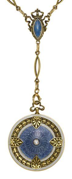 A guilloché enamel and diamond locket pendant/necklace, circa 1915  mounted in fourteen karat gold; length: 21 3/4in