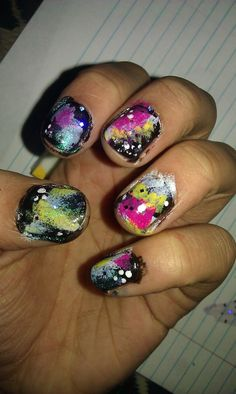 Space nails! First time doing! Really easy.