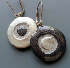 Three ways to wear every pair! Silver and Graphite Circle Dot REVERSIBLE Mosaic by michemozaix, $24.00