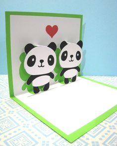 Pandas In Love Pop Up Card by CookieBits on Etsy