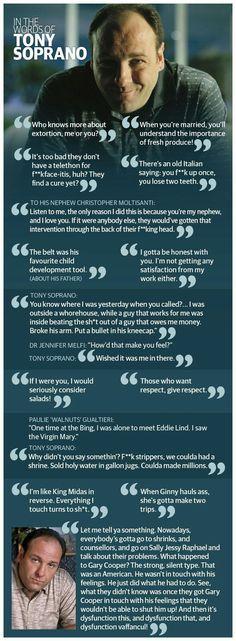 The wisdom of Tony Soprano Tony Soprano, Gangster Movies, Tv Quotes, Movie Quotes, Best Tv Shows, Favorite Tv Shows, The Sopranos, Bada Bing, Telenovela